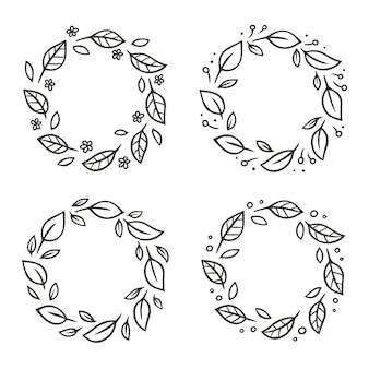Set of circular leaf wreaths with flowers