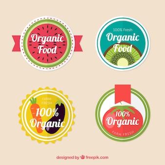Set of circular organic food labels