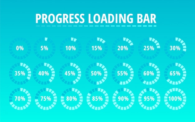 Set of circular progress loading bar on blue