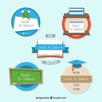 Set of circular stickers for back to school