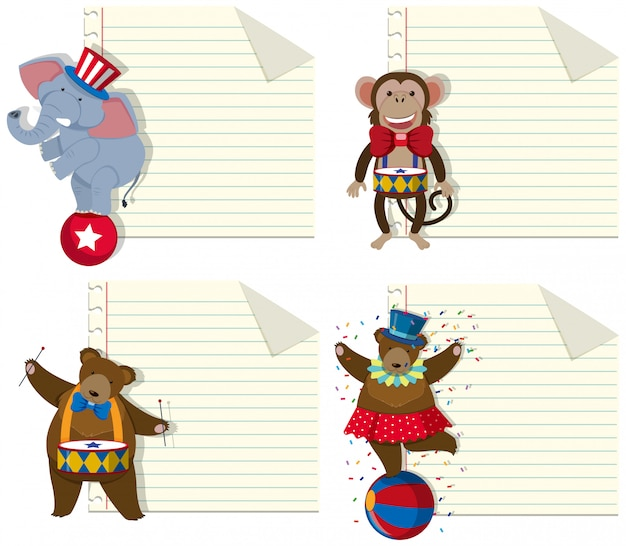 Set of circus animal note template