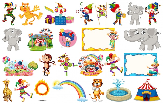 Set of circus animals, characters, objects and frames