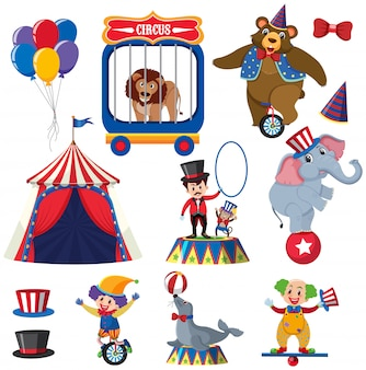 Set of circus animals and people