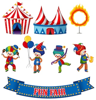 Set of circus clowns and tents