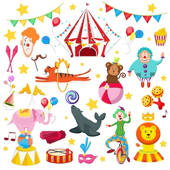 Set circus colorful picture. lion tiger seals with ball, tiger hangs through flames, clowns balls monkeys, funny hats delicious sweets, flags, tickets, popcorn.