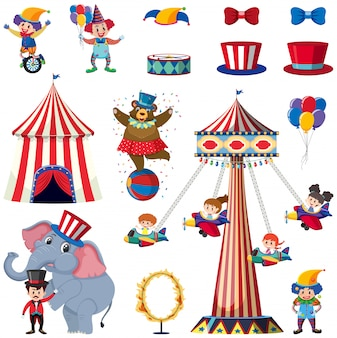 Set of circus elements on white