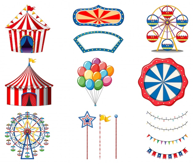 Set of circus items