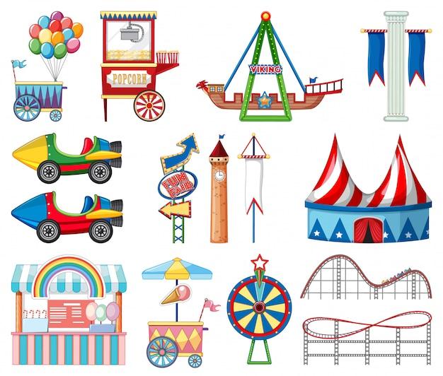 Set of circus items