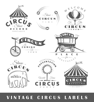 Set of circus labels. elements for design on the circus theme. collection of circus symbols