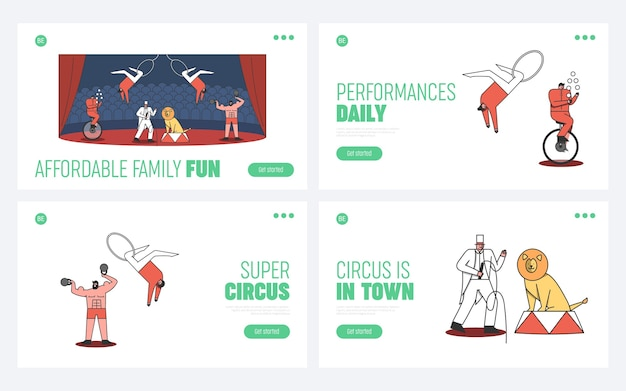 Set of circus landing pages. welcome to circus event concept