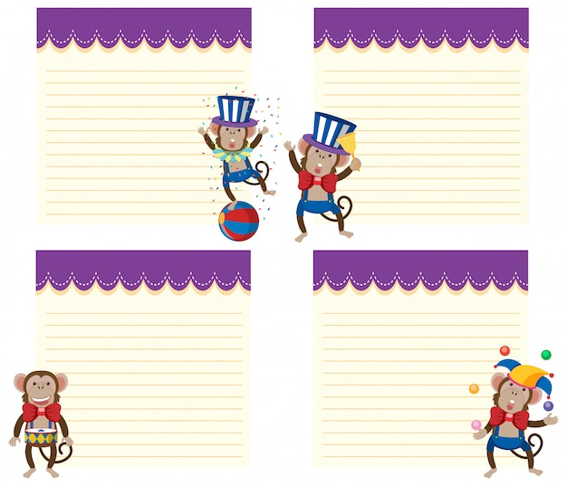 Set of circus monkey note