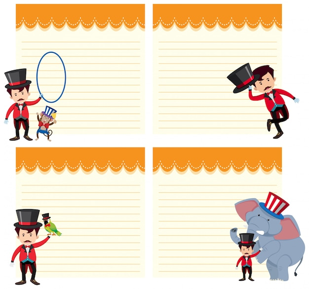 Set of circus show on note template