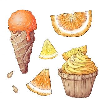 Set of citrus ice cream and cupcake