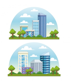 Set of city buildings and park with trees scenery