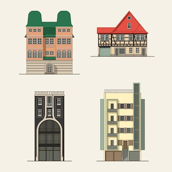 Set of city buildings