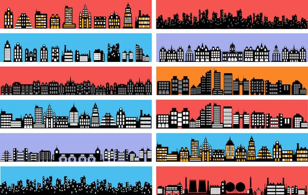 Set of city landscape silhouettes