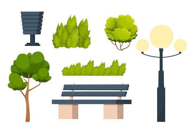 Набор элементов городского парка, скамейка, трава, куст, мусорное ведро и фонарь в мультяшном стиле