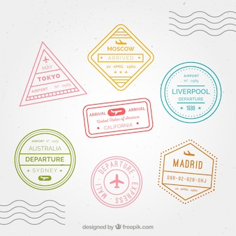 Set of city stamps with different designs and colors
