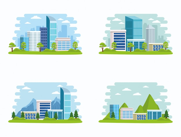 Set of cityscape buildings and nature scenery