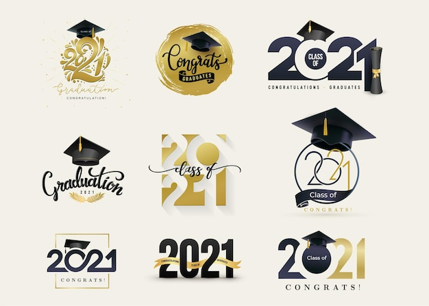 Set of class of 2021 badges concept