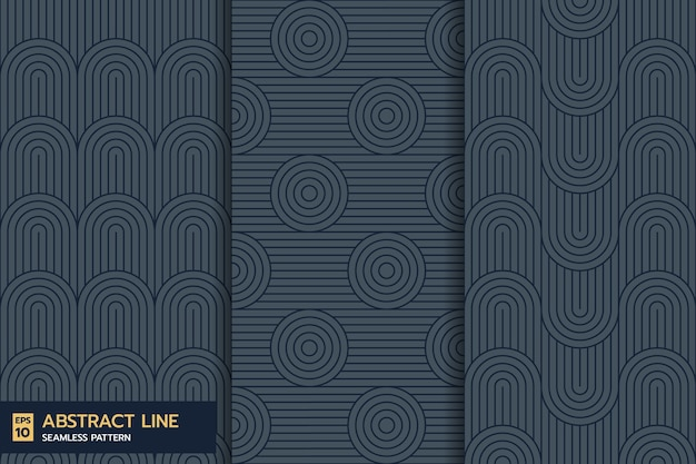 Set of classic abstract line wave seamless pattern