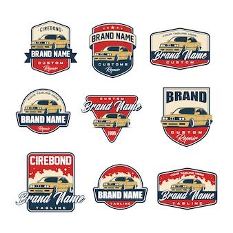 Set of classic car logo template