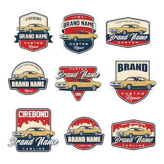 Set of classic car logo template