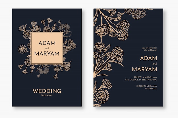 Set classic floral outline hand drawn luxury wedding invitation design or card templates for wedding