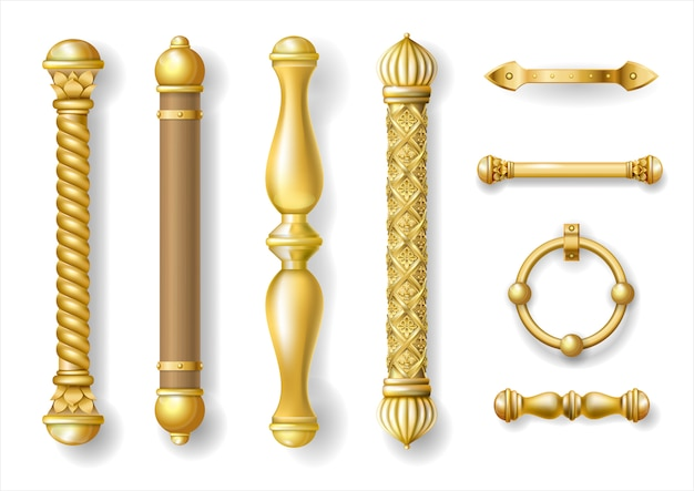 Set of classic gold door handles
