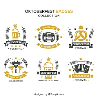 Set of classic oktoberfest badges Free Vector