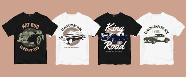 Set of classic old car t shirt  bundle