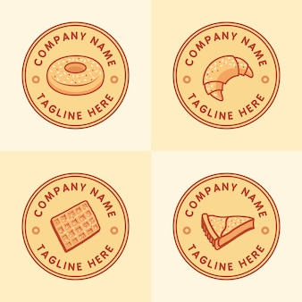 Set of classic pastry or bakery logo template with circle emblem in light brown background