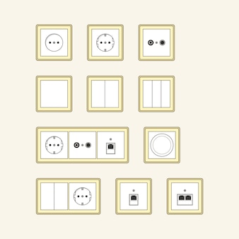 Set of classic sockets with gold frames