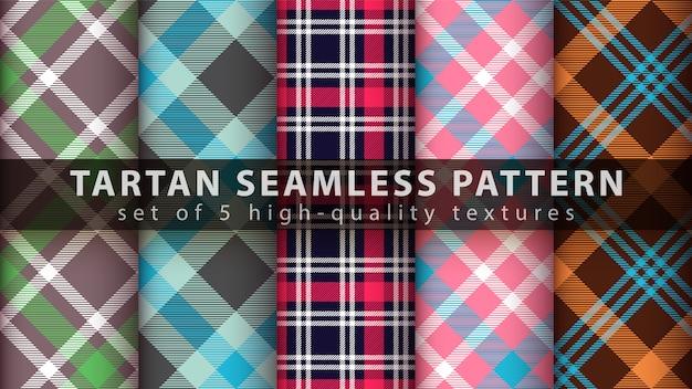 Set classic tartan seamless pattern
