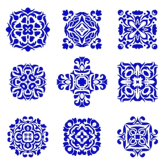 Set of classic tile designs. azulejo boho vintage