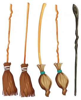 Set of classic witch broom