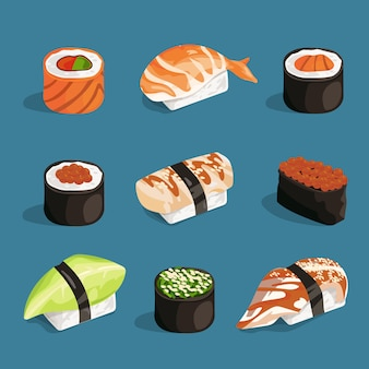 Set of classical asian food. white rice, sushi, salmon nori and different rolls.