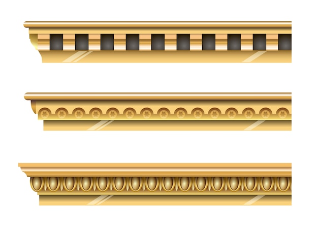 Set of classical gold cornices
