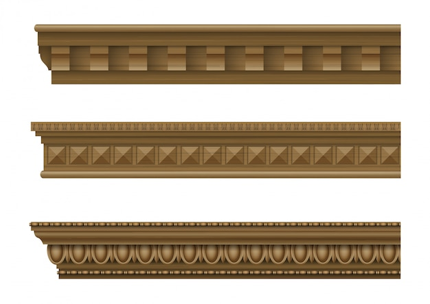 Set of classical wooden cornices