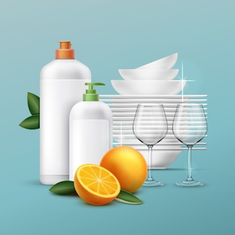 Set of clean dishes and glassware with dishwashing liquid of oranger scent
