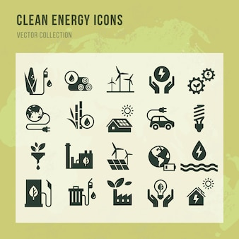 Set of clean energy vector icons in flat style.
