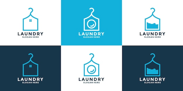 Set of clean laundry logo design concept with creative combination