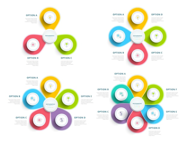 Set of clean minimalistic business step process chart infographics with step circles company presen