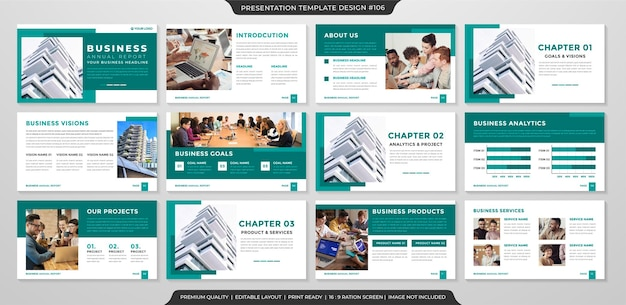 Set of clean presentation layout template premium style