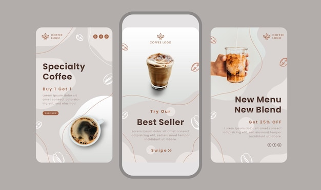 Set of clean stories banner with coffee theme for social media.