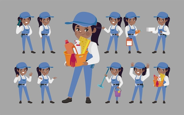 Set of cleaner with different poses