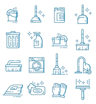 Set of cleaning equipment icons with outline style