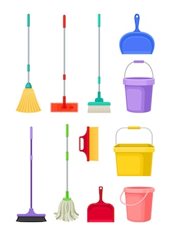Set of cleaning products isolated on white