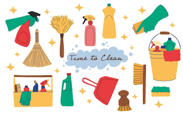 Set of cleaning productshand drawn cartoon flat style