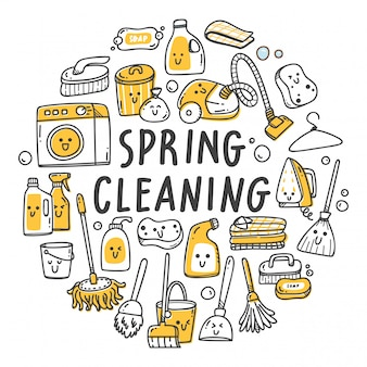 Set of cleaning supplies in kawaii doodle style illustration